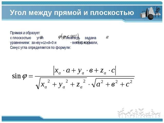 Угол между прямой и плоскостью Прямая а образует с плоскостью угол . Плоскост...
