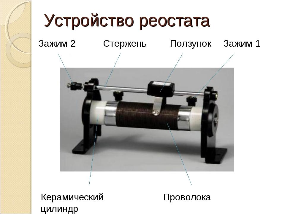 Устройство реостата Ползунок Стержень Зажим 1 Зажим 2 Керамический цилиндр Пр...