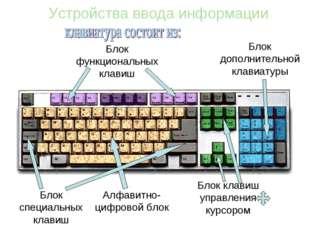 Устройства ввода информации Алфавитно-цифровой блок Блок функциональных клави