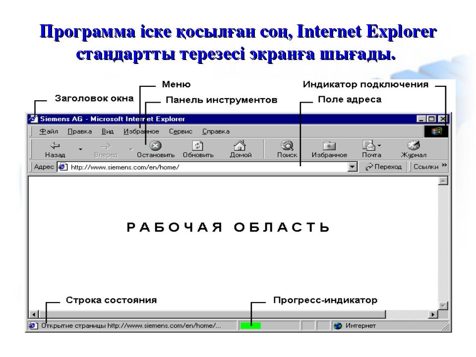 Программа іске қосылған соң, Internet Explorer стандартты терезесі экранға шы...