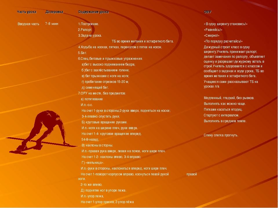 Часть урока Дозировка Содержание урока ОМУ Вводная часть7-8 мин1.Построе...