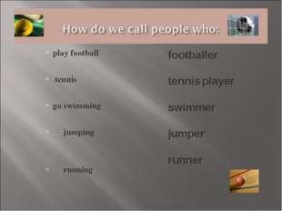 play football tennis go swimming jumping running footballer tennis player swi