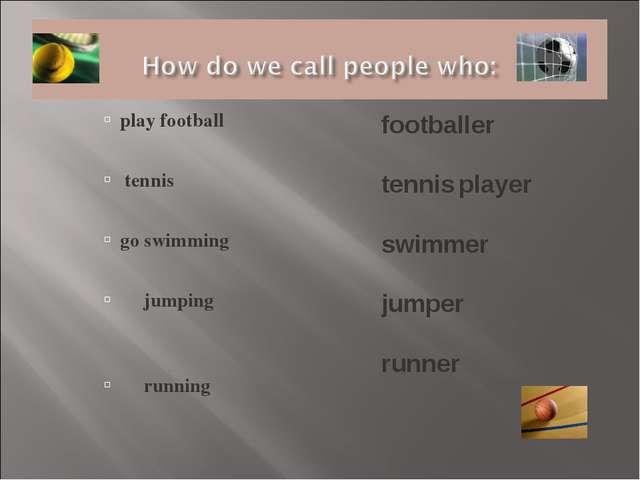 play football tennis go swimming jumping running footballer tennis player swi...