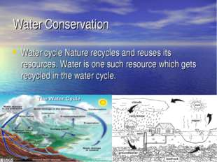Water Conservation Water cycle Nature recycles and reuses its resources. Wate
