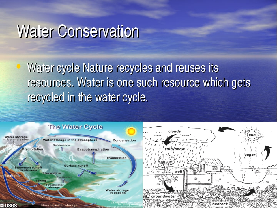 Water Conservation Water cycle Nature recycles and reuses its resources. Wate...