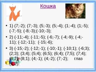 Кошка 1) (7;-2); (7;-3); (5;-3); (5;-4); (1;-4); (1;-5); (-7;-5); (-8;-3);(-1