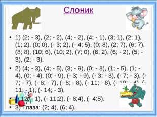 Слоник 1) (2; - 3), (2; - 2), (4; - 2), (4; - 1), (3; 1), (2; 1), (1; 2), (0