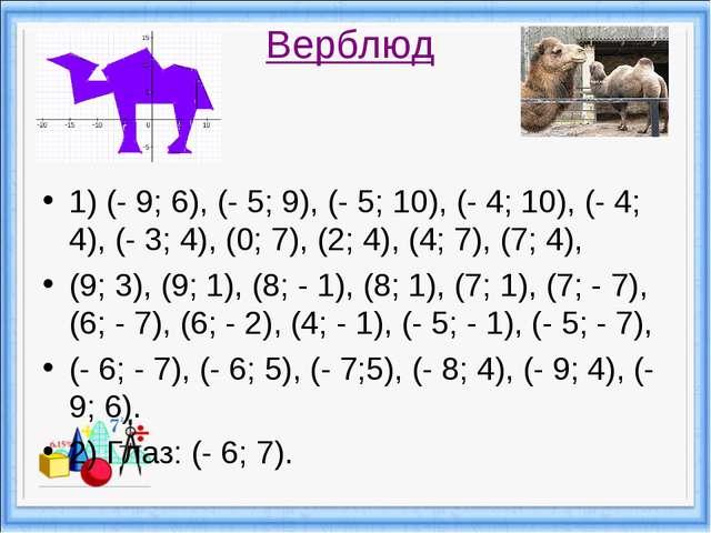 Верблюд 1) (- 9; 6), (- 5; 9), (- 5; 10), (- 4; 10), (- 4; 4), (- 3; 4), (0;...