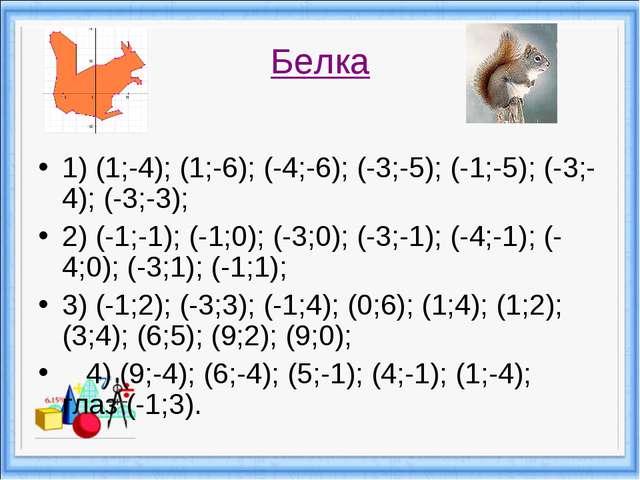 Белка 1) (1;-4); (1;-6); (-4;-6); (-3;-5); (-1;-5); (-3;-4); (-3;-3); 2) (-1...