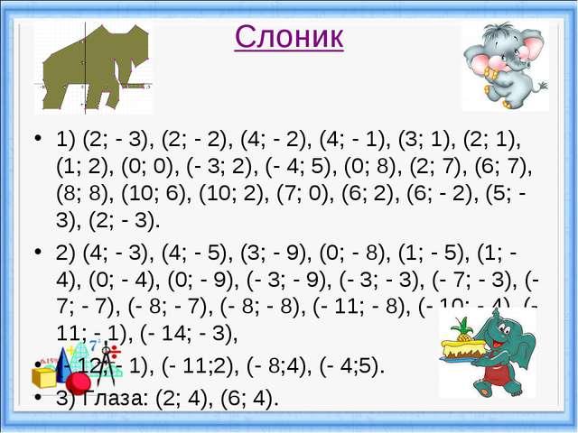 Слоник 1) (2; - 3), (2; - 2), (4; - 2), (4; - 1), (3; 1), (2; 1), (1; 2), (0...