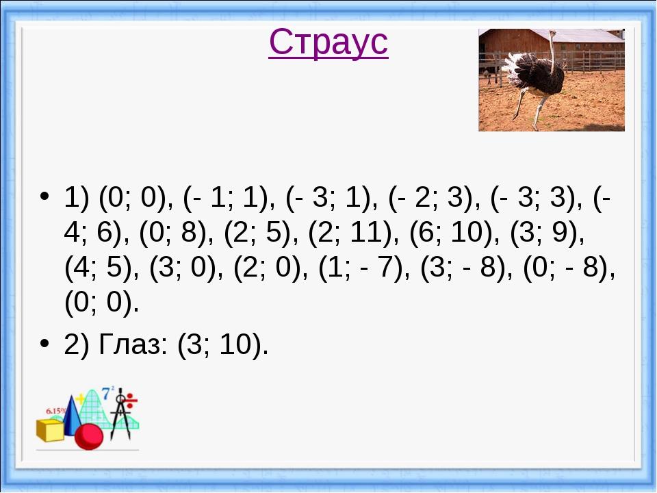 Страус 1) (0; 0), (- 1; 1), (- 3; 1), (- 2; 3), (- 3; 3), (- 4; 6), (0; 8), (...