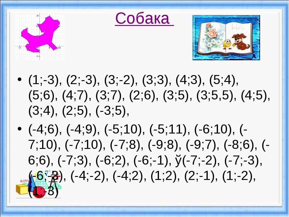 Собака (1;-3), (2;-3), (3;-2), (3;3), (4;3), (5;4), (5;6), (4;7), (3;7), (2;6...