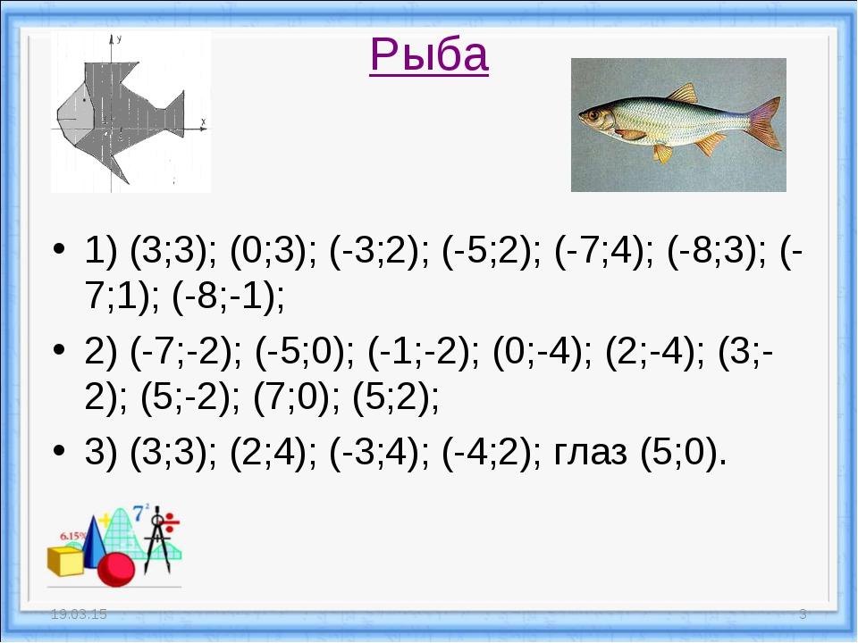 Рыба 1) (3;3); (0;3); (-3;2); (-5;2); (-7;4); (-8;3); (-7;1); (-8;-1); 2) (-7...