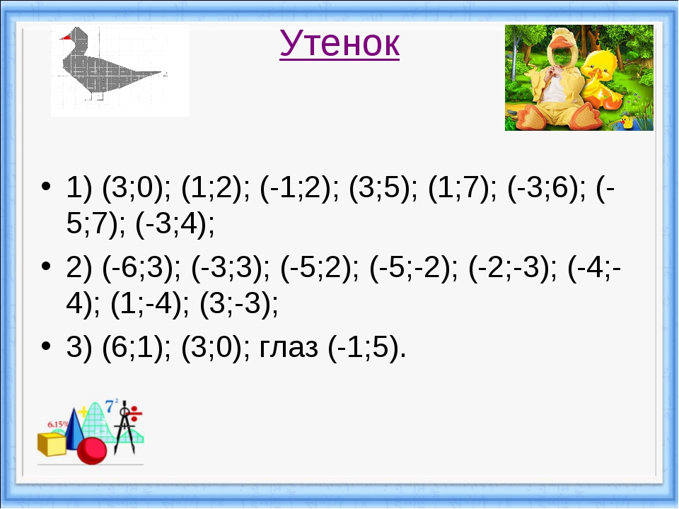 Утенок 1) (3;0); (1;2); (-1;2); (3;5); (1;7); (-3;6); (-5;7); (-3;4); 2) (-6;...