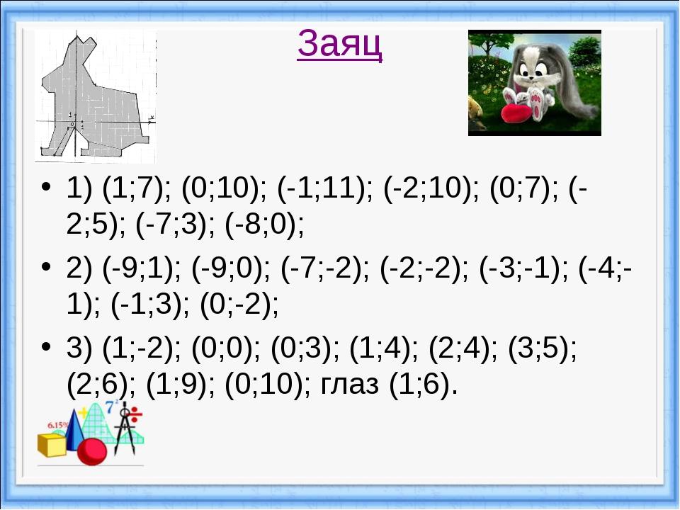 Заяц 1) (1;7); (0;10); (-1;11); (-2;10); (0;7); (-2;5); (-7;3); (-8;0); 2) (-...