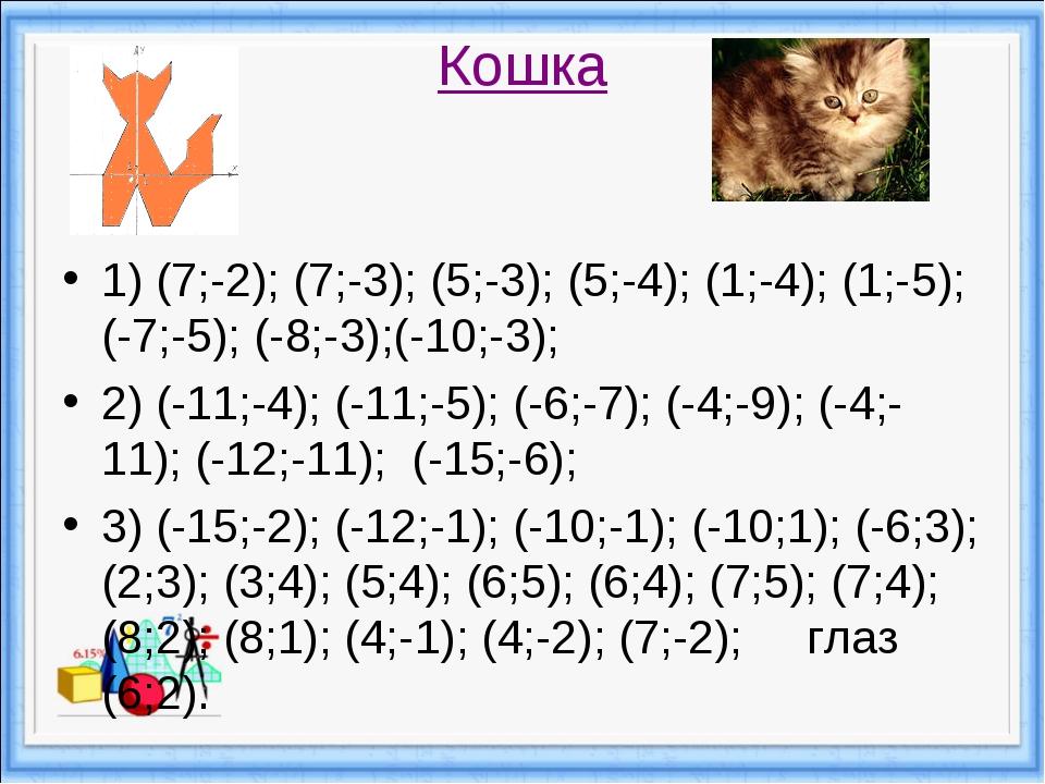 Кошка 1) (7;-2); (7;-3); (5;-3); (5;-4); (1;-4); (1;-5); (-7;-5); (-8;-3);(-1...