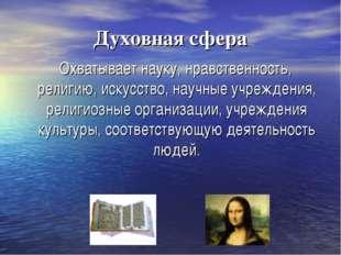 Духовная сфера Охватывает науку, нравственность, религию, искусство, научные