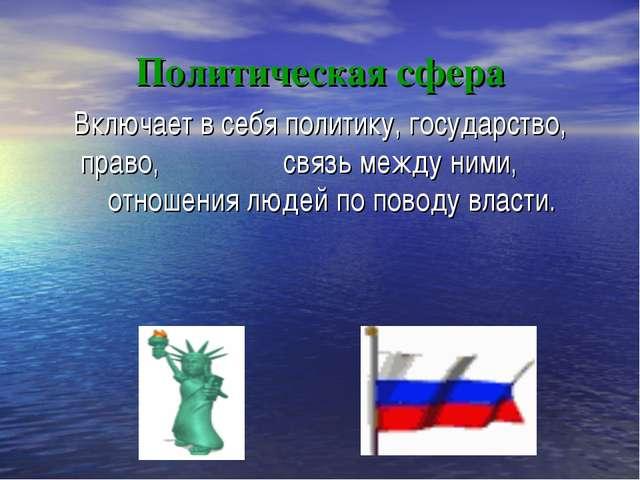 Политическая сфера Включает в себя политику, государство, право, связь между...