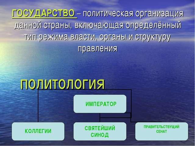 политология ГОСУДАРСТВО – политическая организация данной страны, включающая...