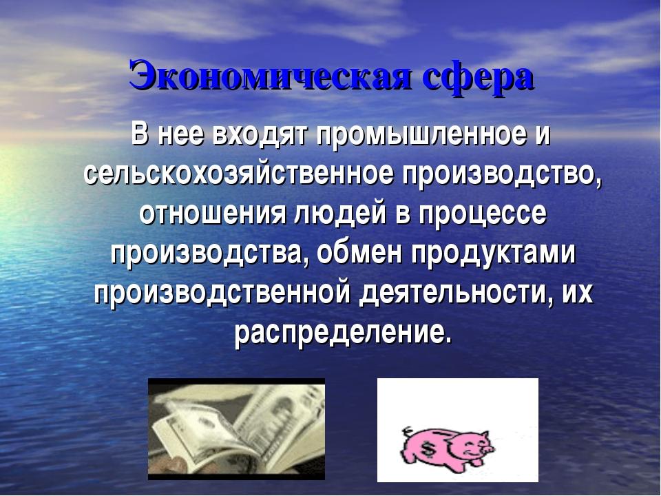 Экономическая сфера В нее входят промышленное и сельскохозяйственное производ...