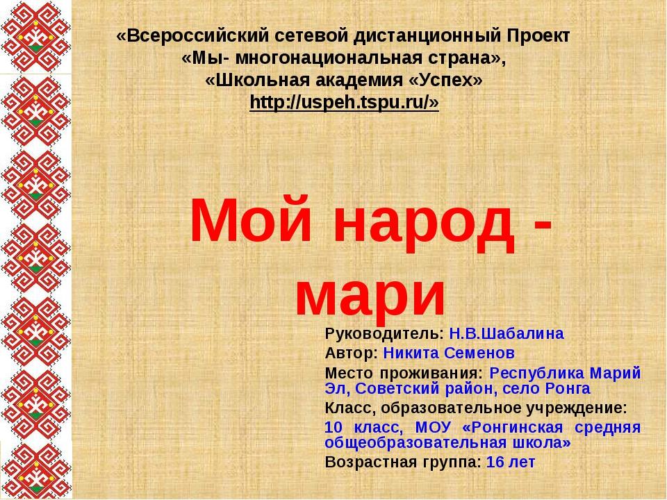 «Всероссийский сетевой дистанционный Проект «Мы- многонациональная страна», «...