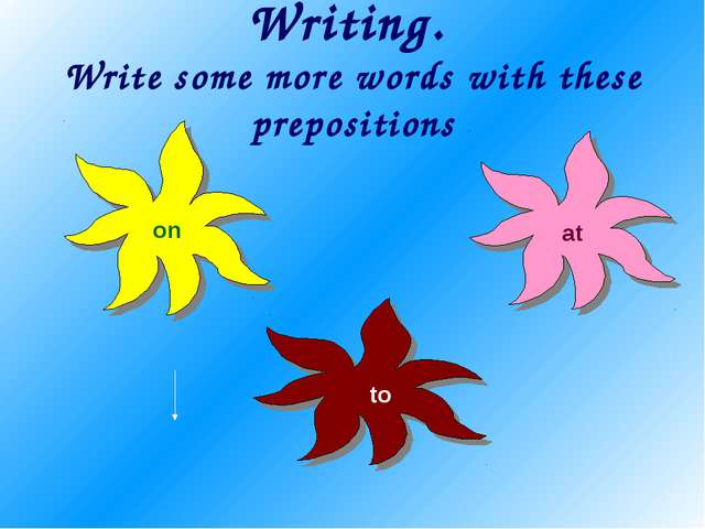 Writing. Write some more words with these prepositions to on at
