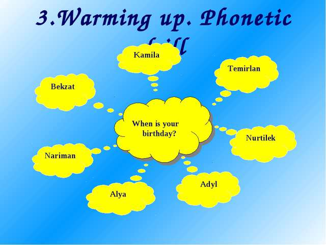 3.Warming up. Phonetic drill When is your birthday? Nariman Alya Bekzat Kamil...