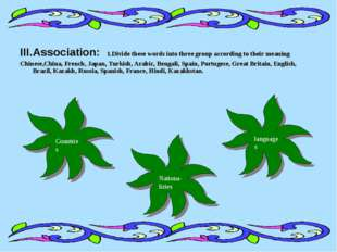 III.Association: 1.Divide these words into three group according to their mea