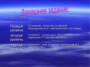 Первый уровеньСочинение –описание по картине Хаертдинова М.Х. «Материнство».