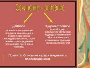 Деловое (понятие описываемого предмета или явления в строгой логической после