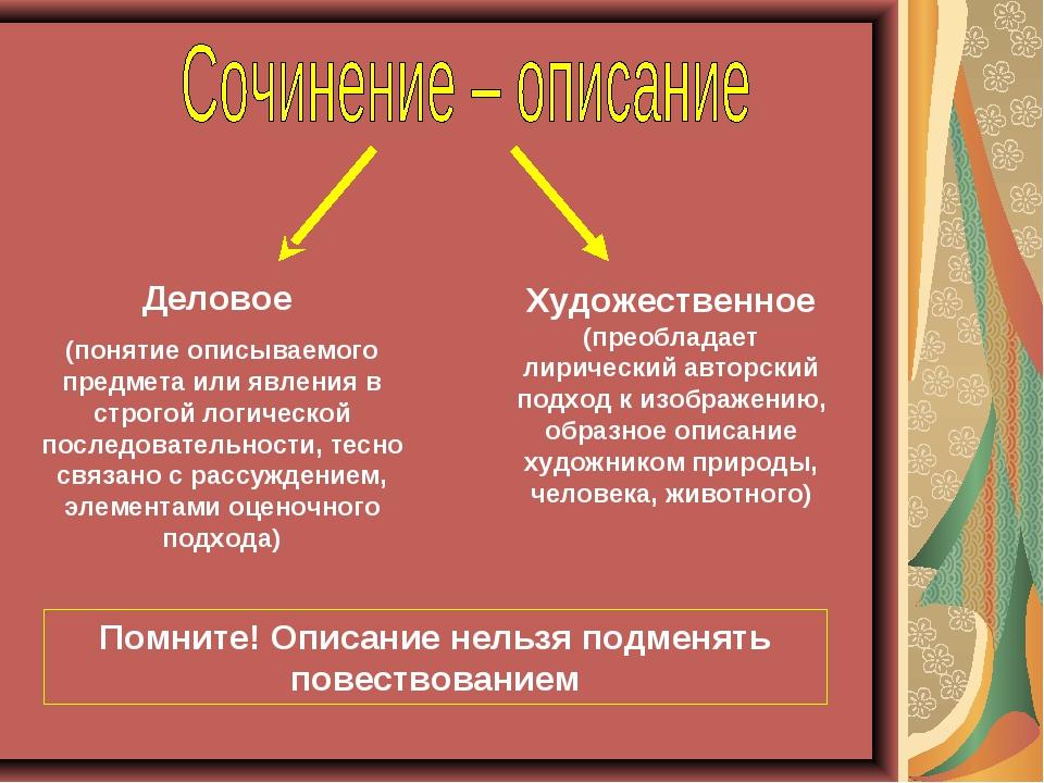 Деловое (понятие описываемого предмета или явления в строгой логической после...