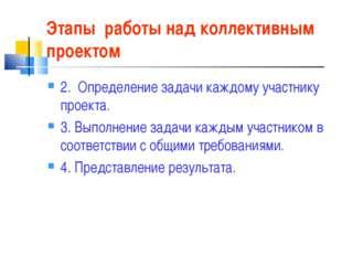 Этапы работы над коллективным проектом 2. Определение задачи каждому участник