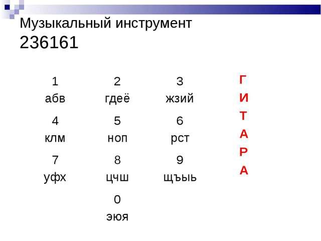 Музыкальный инструмент 236161 Г И Т А Р А 1 абв2 гдеё3 жзий 4 клм5 ноп6 р...