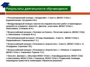 Результаты деятельности обучающихся: Республиканский конкурс «Экодизайн». 1 м
