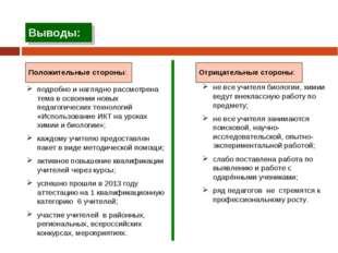 Выводы: подробно и наглядно рассмотрена тема в освоении новых педагогических