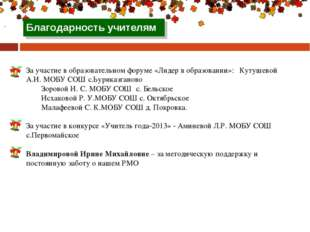 За участие в образовательном форуме «Лидер в образовании»: Кутушевой А.И. МО