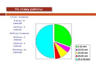 По стажу работы: 1-5 лет - 4 учителя 5-10 лет - 8 учителей 10-15 лет - 2 учит