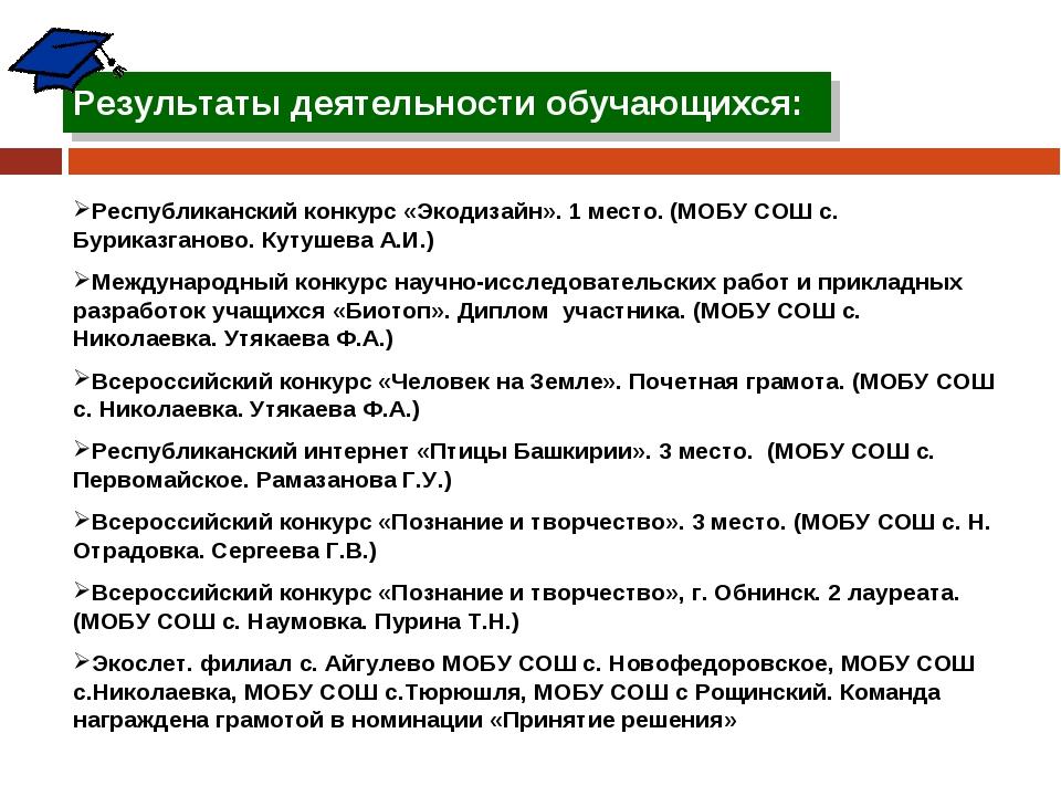 Результаты деятельности обучающихся: Республиканский конкурс «Экодизайн». 1 м...