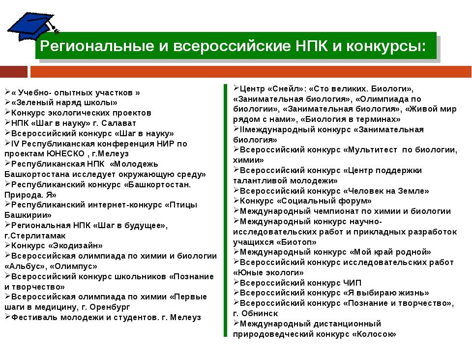 Региональные и всероссийские НПК и конкурсы: « Учебно- опытных участков » «Зе...
