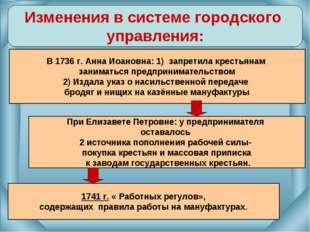 Изменения в системе городского управления: В 1736 г. Анна Иоановна: 1) запрет