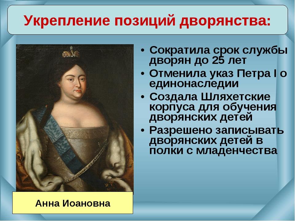 Сократила срок службы дворян до 25 лет Отменила указ Петра I о единонаследии...