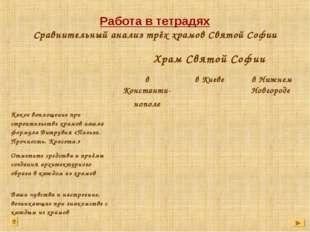 Работа в тетрадях Сравнительный анализ трёх храмов Святой Софии Храм Святой