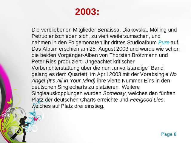 2003: Die verbliebenen Mitglieder Benaissa, Diakovska, Mölling und Petruo en...