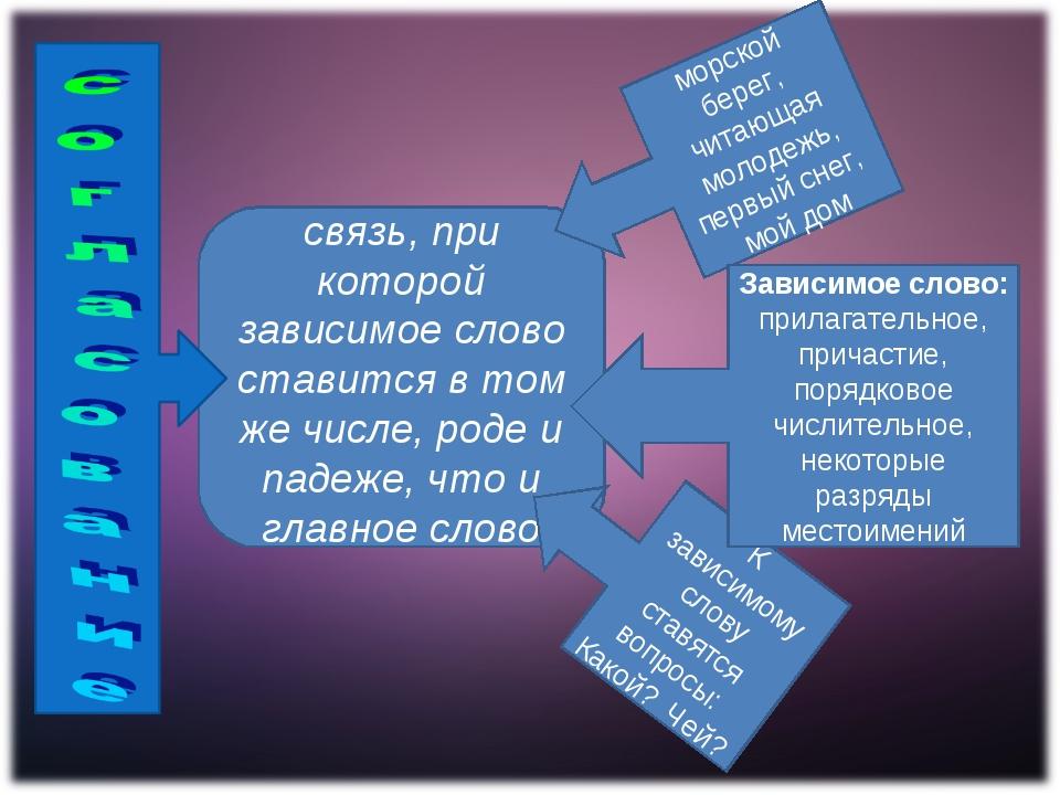 связь, при которой зависимое слово ставится в том же числе, роде и падеже, чт...