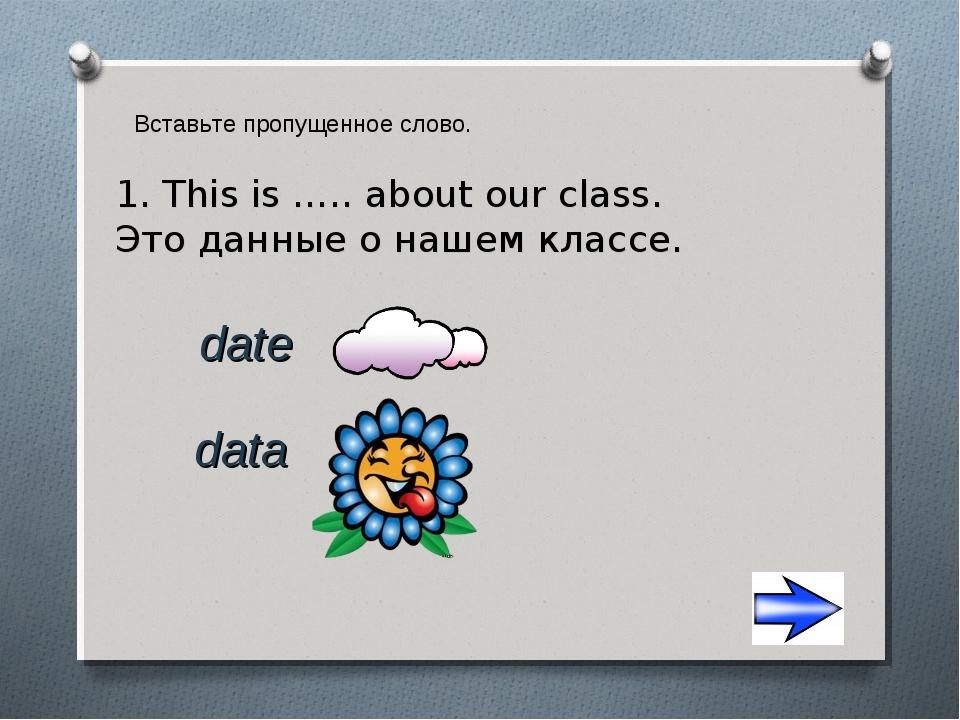 Вставьте пропущенное слово. 1. This is ….. about our class. Это данные о наше...