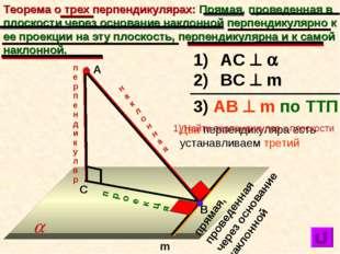 Теорема о трех перпендикулярах: Прямая, проведенная в плоскости через основан