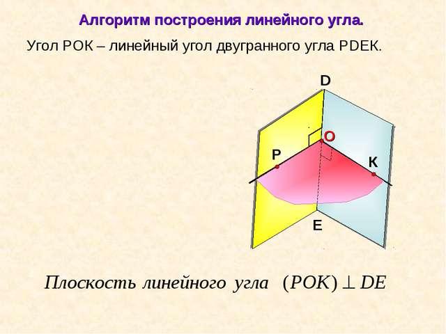 Угол РОК – линейный угол двугранного угла РDEК. D E Алгоритм построения линей...