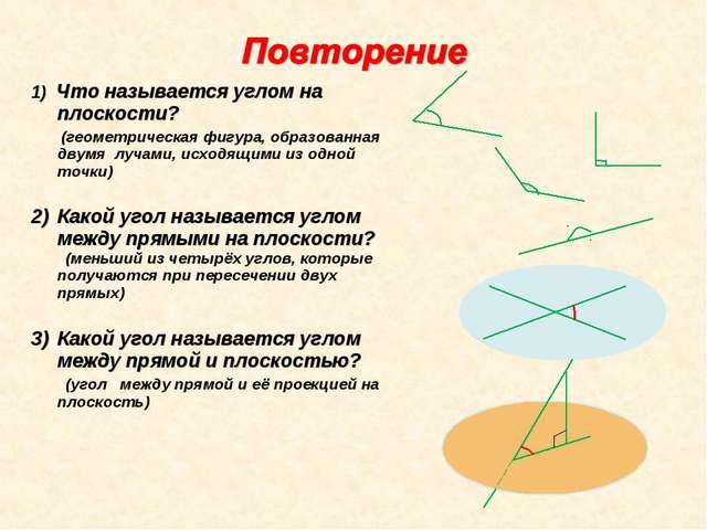 1) Что называется углом на плоскости? (геометрическая фигура, образованная дв...