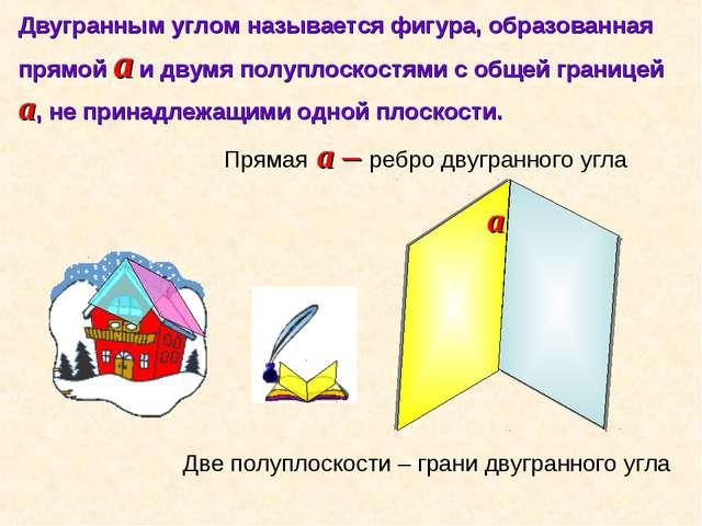 Двугранным углом называется фигура, образованная прямой a и двумя полуплоскос...