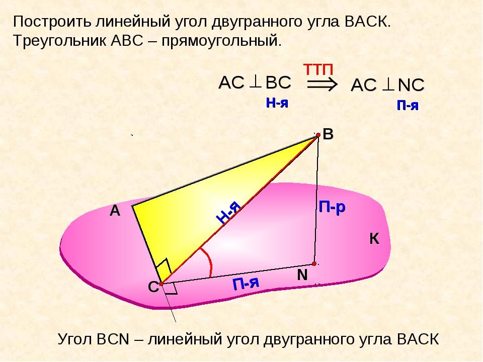 Построить линейный угол двугранного угла ВАСК. Треугольник АВС – прямоугольны...